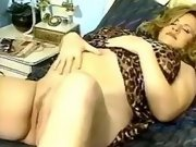 Pregnant blonde seduces man in bed